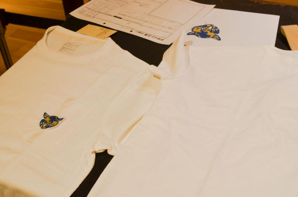 刺繍するイラストを数種類の大きさでプリントアウト。切り抜いてイメージを確認。