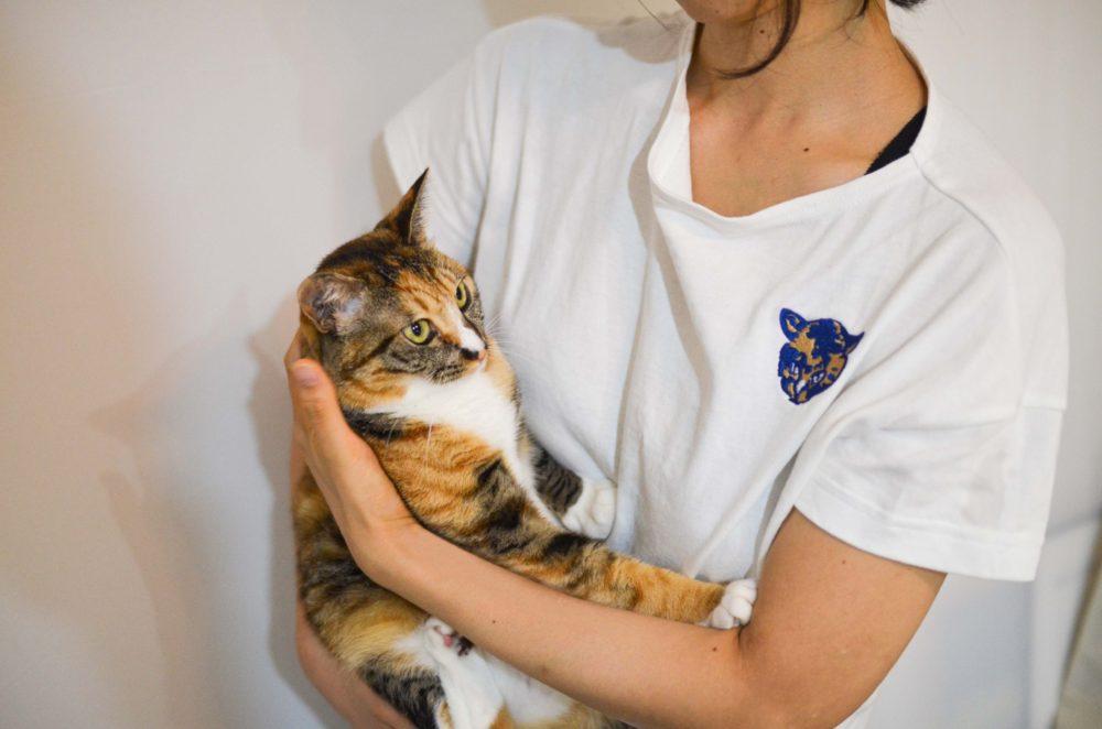 愛猫の刺繍を入れたTシャツを着て愛猫を抱っこ。