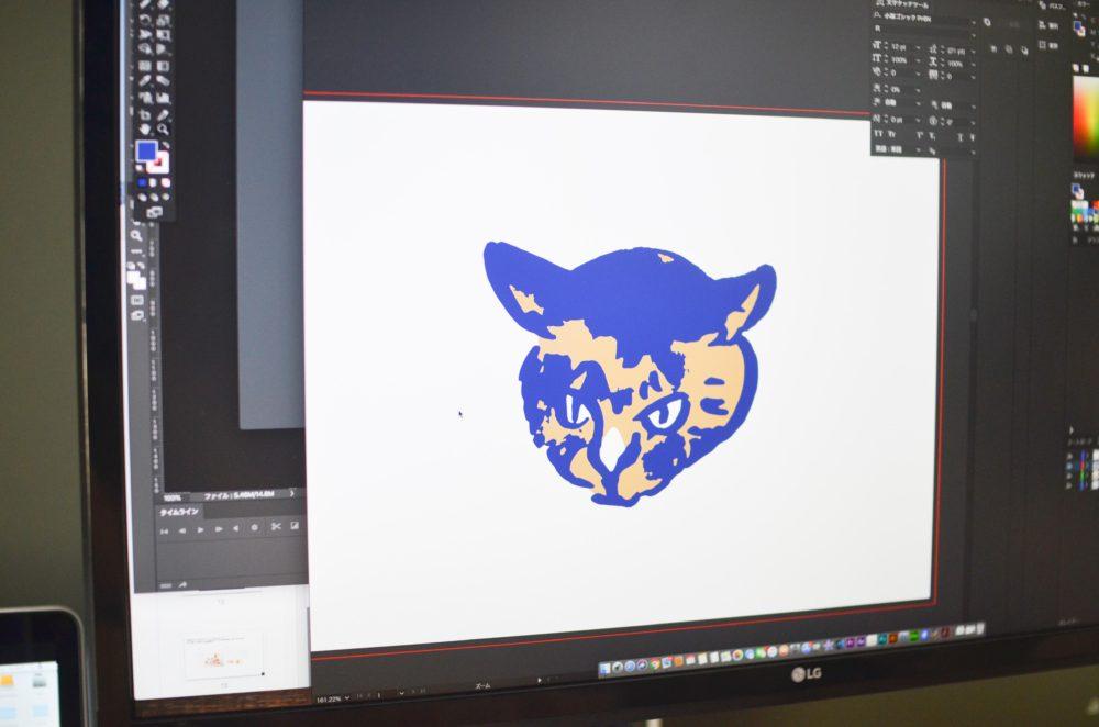 愛猫、パッタイのイラストを刺繍化するために色を三色以内に。