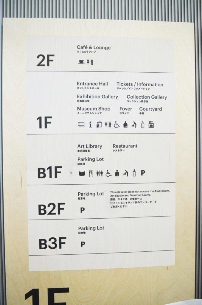 東京都現代美術館の施設案内板。