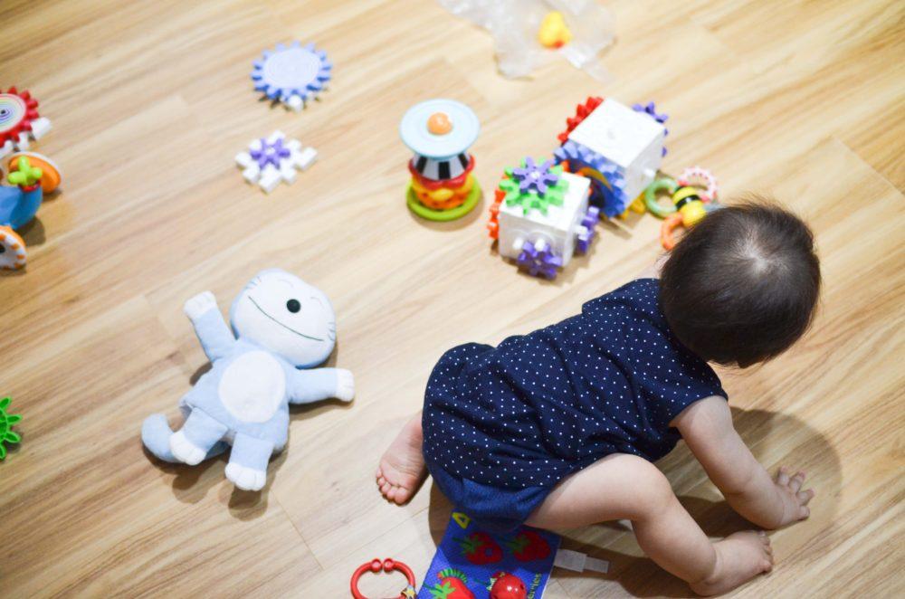 おもちゃで遊ぶ8ヶ月の娘。