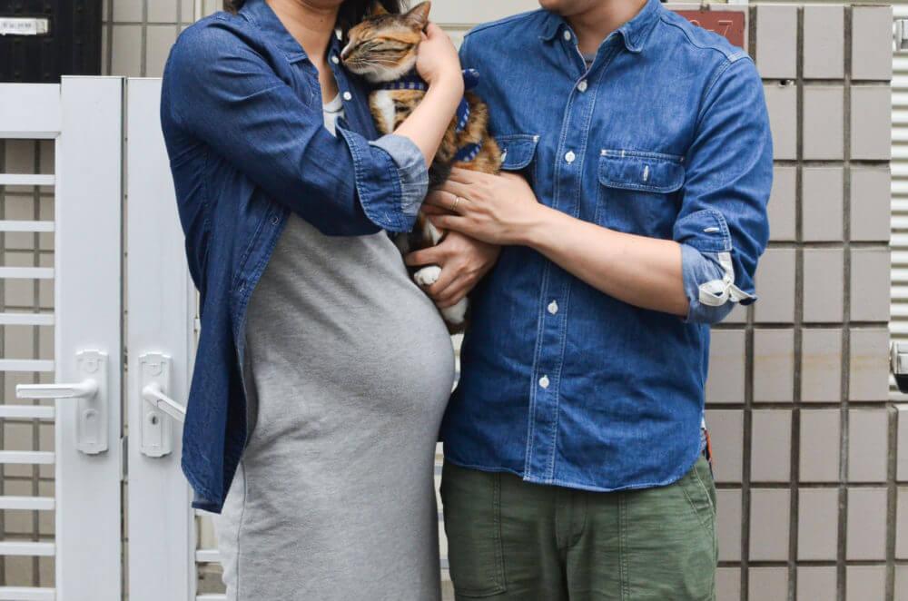 妊娠中の家族写真。