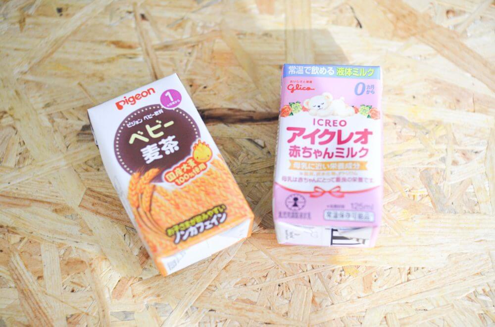 「アイクレオ 赤ちゃんミルク」と「ピジョン ベビー麦茶」